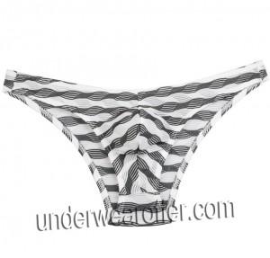 Men's Unique Stripe Mesh Mini Briefs Underwear Bluge Pouch Bikinis Briefs Pants MU268X