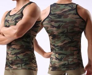 New Sexy Men's Camouflage Underwear Tank Top Singlet Undershirt Smooth Casual Vest Size M L XL MU341
