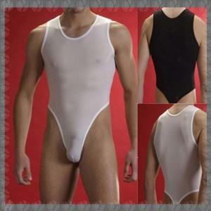 Men's sexy mesh sheer Stretch Bodysuit Underwear S~L MU518