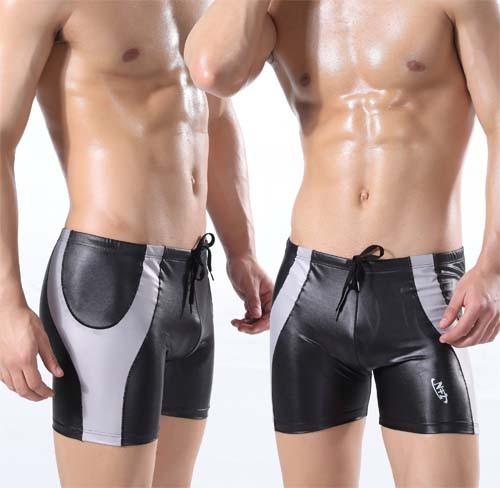 e0afa1e2a8 Men's sexy Faux leather Long Swimwear Trunk Board Shorts MU328 M L XL
