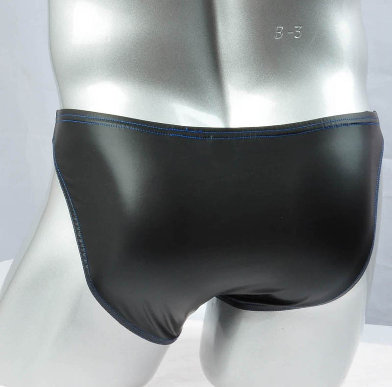 Men S Long Pouch Briefs Leather Like Underwear Nuts Out