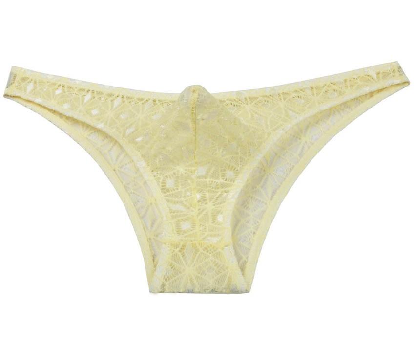 17bb04bac1db Men Jacquard Lace Bikini Brief Pouch Underwear Diamond Solid Thong Briefs  Pants MU246X