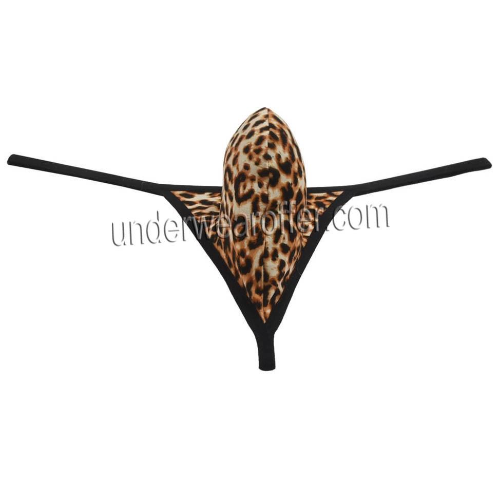9dad850bdcf8 Soft Pouch Leopard Mini Bikin Men Contoured Micro Thong Underwear G-String  Tanga MU09N