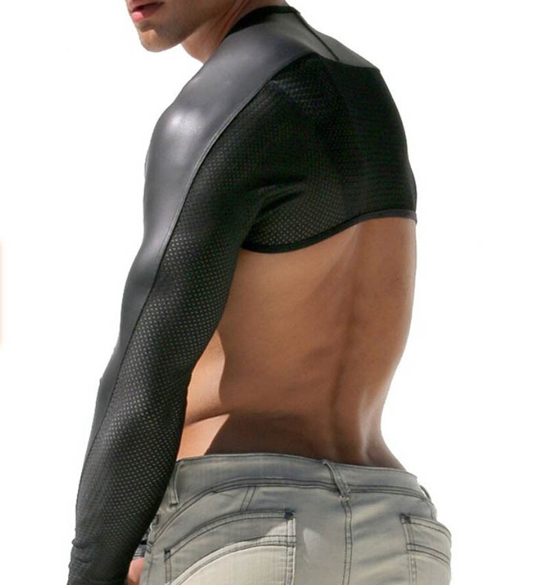 Mens Faux Leather With Breath Holes Hollow Arm Sleeves